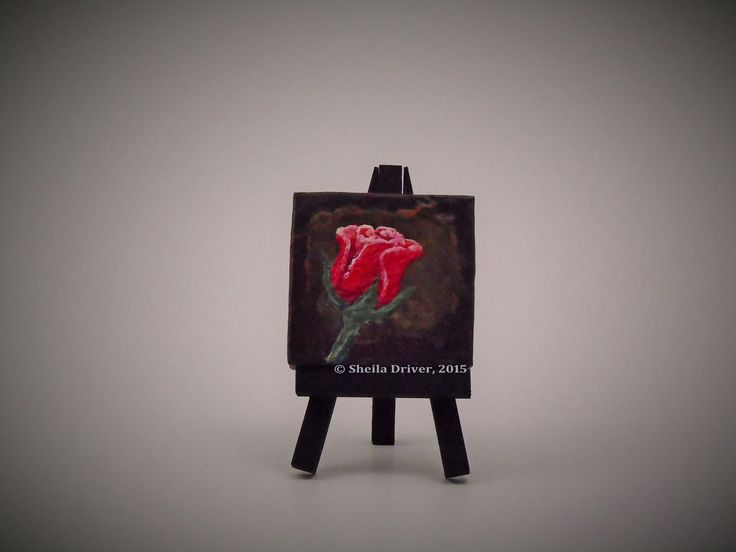 "Title: Petite Rose Size: 2.75'' x 2.75"" (7 cm x 7 cm)  This is an original encaustic painting, created entirely from a wax medium applied to a mini canvas frame, and comes with its own mini easel. This work is part of a series of paintings called Du Jardin, (meaning ""From the Garden"" in English)."