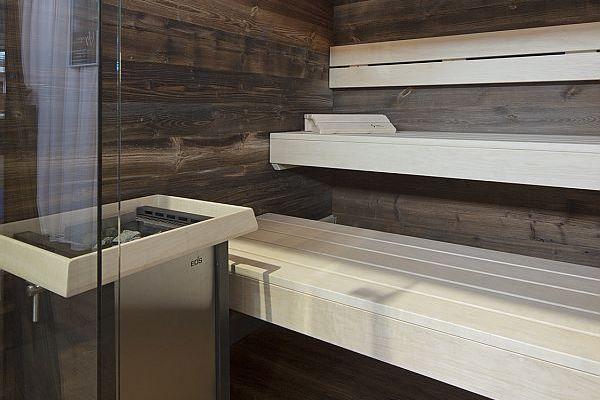 eine finnische Sauna mit Glasfront und Saunaofen