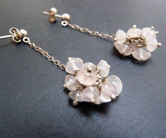 Rose quartz drop earringssilver and rose by karenjohnsondesign, £28.00