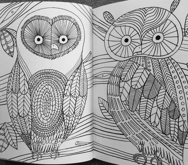 stress relieving coloring pages owls - photo#14