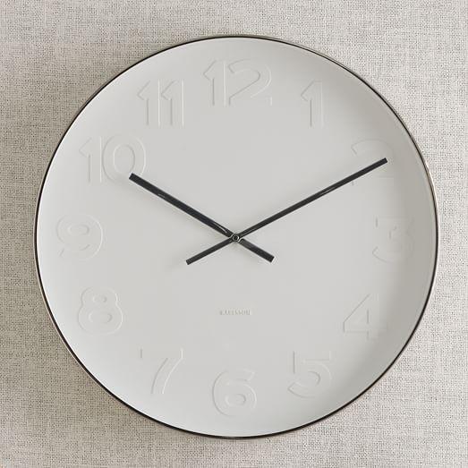 oversized modern white & black wall clock   Mr. White Wall Clock   West Elm