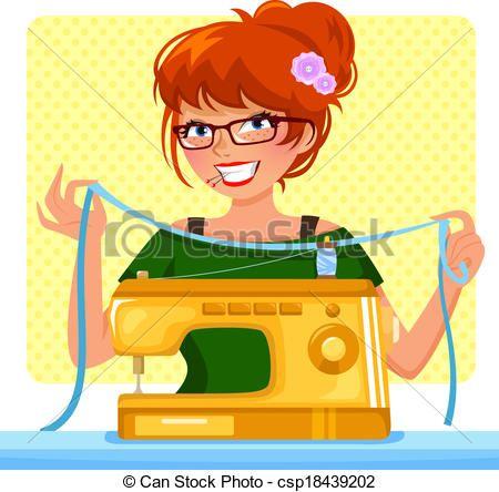 Vector - girl sewing machine - stock illustration, royalty free illustrations, stock clip art icon, stock clipart icons, logo, line art, EPS picture, pictures, graphic, graphics, drawing, drawings, vector image, artwork, EPS vector art