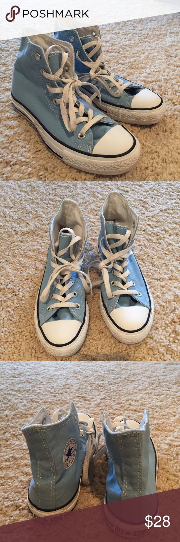 Baby blue Converse high tops size 6 Practically new! These are Converse high tops in a baby blue. Soooo cute but I just can't make them fit. Worn probably 3 times total. Comment any questions  Converse Shoes Sneakers