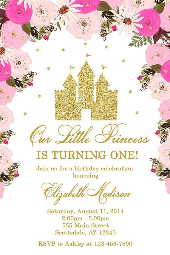 Prinzessin Castle Birthday Party Invitation Schloss Geburtstag