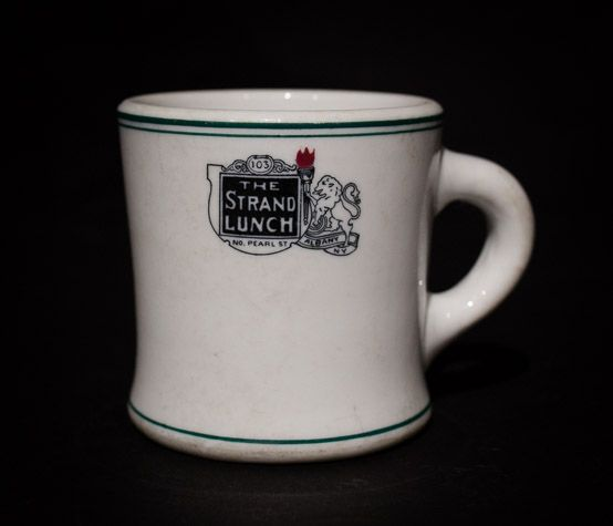 The Strand Lunch, Albany, NY  Mug  by Shenango China, circa 1920s-1930s Offered by Track 16. http://www.track16.com #restaurantware #restaurantchina
