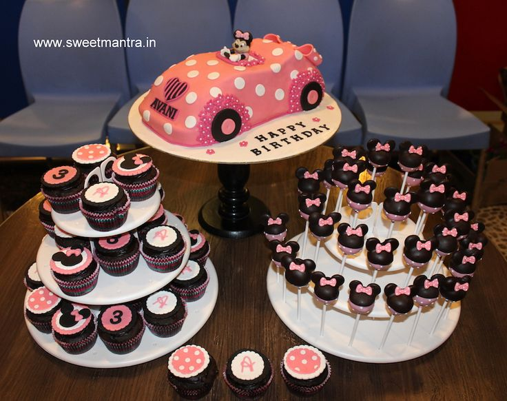 Minnie Mouse theme customized dessert/sugar table with designer cake, cupcakes and cake pops for girl's 3rd birthday at Pune