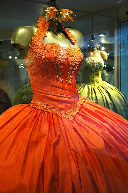 Ornate Orange Mexican Party dress
