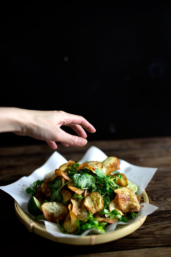 Potato Chips and Thai Herb Salad
