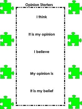 "This product is meant to be used with an opinion writing piece. It includes examples of transition words or ""puzzle pieces"" to link each paragraph together. **I RECOMMEND DOWNLOADING MY ""OPINION/PERSUASIVE WRITING PRODUCT"" TO USE ALONG WITH THIS**"