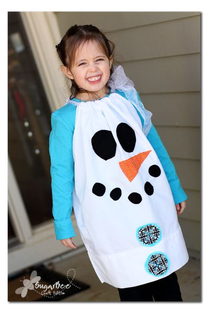 Snowman Pillowcase Dress Costume. Have to make one for Doodle's Christmas Concert!