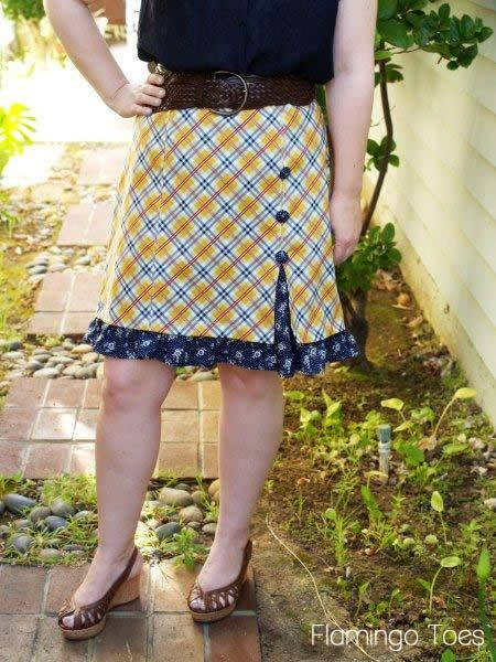 Buttons and Frills Knockoff Skirt » Tutorial using any skirt pattern with front side seams. Cute idea for a lil skirt variation!