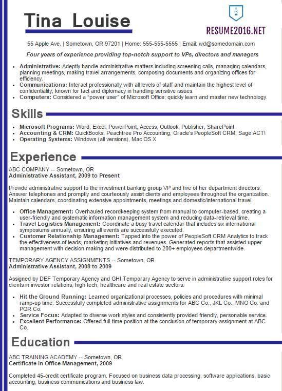Best Sample Resume 2016 Sample Resumes WorkResume Skills