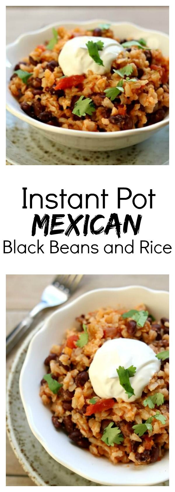 Instant Pot Mexican Black Beans and Rice–the easiest and tastiest rice ever! Brown rice is cooked in flavorful salsa with garlic salt, a bay leaf and cumin. Canned black beans make this recipe very convenient. And my favorite part is a squeeze of lime juice and a dollop of sour cream on top. Make this as a meal or as a side dish.