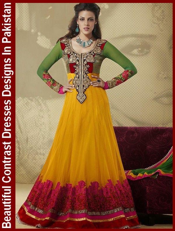 Beautiful Contrast Dresses Designs In Pakistan #ContrastDresses #ContrastPanelDress