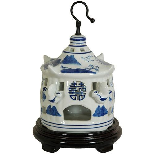 11 Inch Porcelain Bird Cage Blue and White Landscape, Width - 7.5 Inches