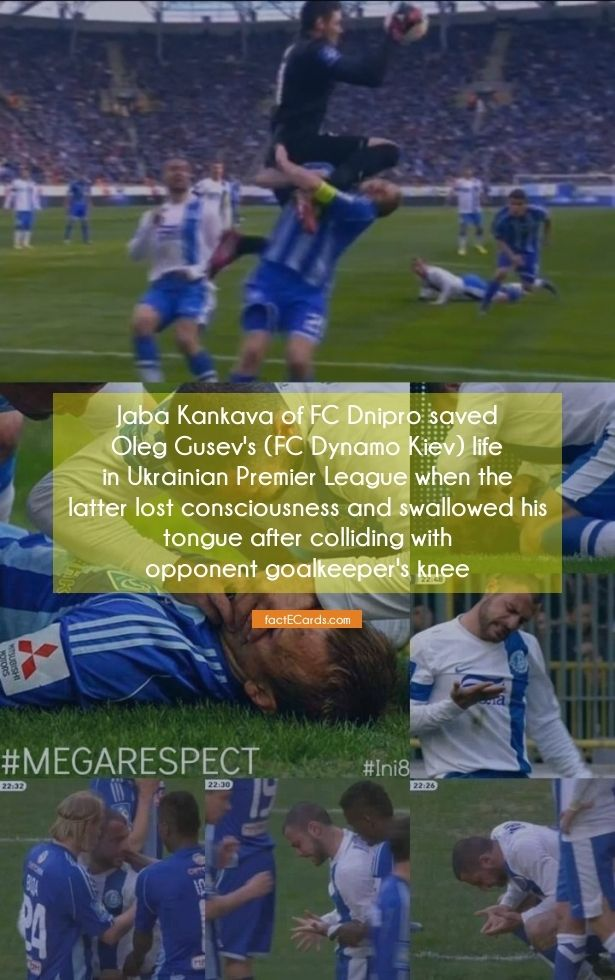 Jaba Kankava of FC Dnipro saved Oleg Gusev's (FC Dynamo Kiev) life in Ukrainian Premier League when the latter lost consciousness and swallowed his tongue after colliding with opponent goalkeeper's knee - http://factecards.com/jaba-kankava-fc-dnipro-saved/