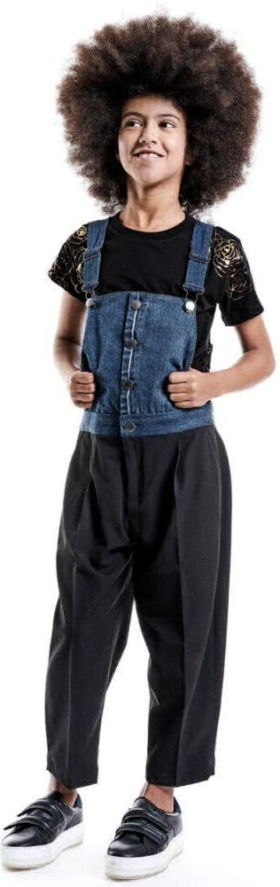 SALE !!! DIESEL Girls Black & Blue Overalls. Super Cool Streetwear Look for Girls. Half Overall top & Pant Bottom. Looks Perfect with a Black T-shirt with Gold Graphics. Designed in Italy & Inspired by the Diesel Women's Collection. #diesel #shopthelook #kidsfashion #fashionkids #childrensclothing #girlsclothes #girlsclothing #girlsfashion #minime #mommyandme #cute #girl #kids #fashion