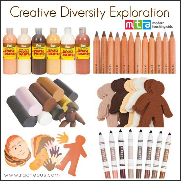 Exploring Skin Colour Diversity for Kids - Racheous - Lovable Learning *FA.1.69 Use a variety of materials (e.g., crayons, paint, clay, markers) to create original work. *FA.1.58 Imitate different cultures through art.