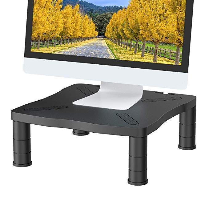 Huanuo Monitor Riser Stand 3 Height Adjustable Monitor Stand With Cable Management For Laptop Computer Screens Monitor Riser Monitor Stand Cable Management