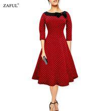 ZAFUL Kadınlar Elbise Hepburn 50 s Robe Rockabilly Retro Slash Boyun kırmızı Polka Dot Parti Kadın Elbiseler Balo Feminino Vestidos(China (Mainland))