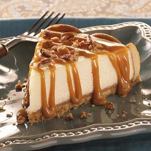 Praline Cheesecake-I just drizzle store bought caramel on top. Cook in a waterbath-AMAZING!!