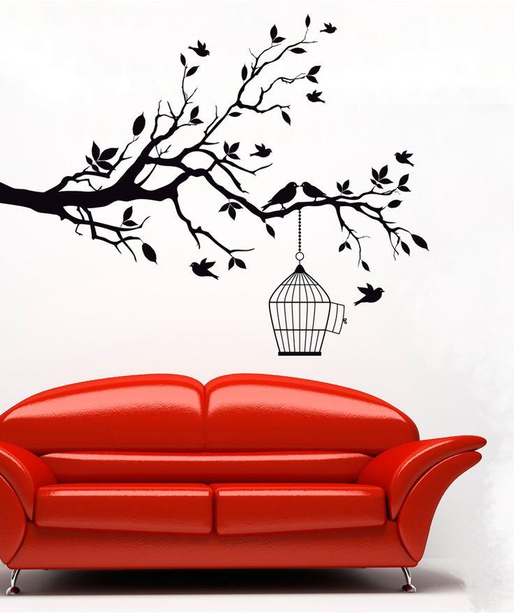 Cage branch vinilo adhesivo decoraci n de paredes 69 for Vinilos murales adhesivos