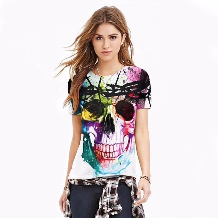 T-shirt femme crane, tete de mort multicolores, grafitti ( S à 2XL)