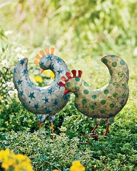 perfect for the yard. Cluck Cluck! Folk Art chickens