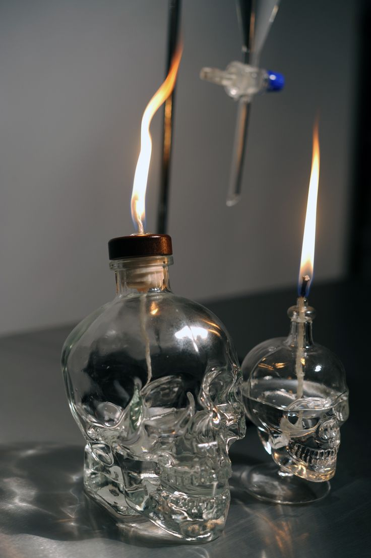 Skull lamp made with empty bottle of Crystal Head vodka.  Instructions on Luxiare