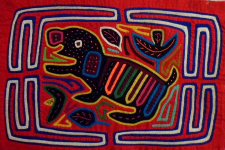 Kuna Indian San Blas Red Nose Dog Mola II-Panama 17051518L