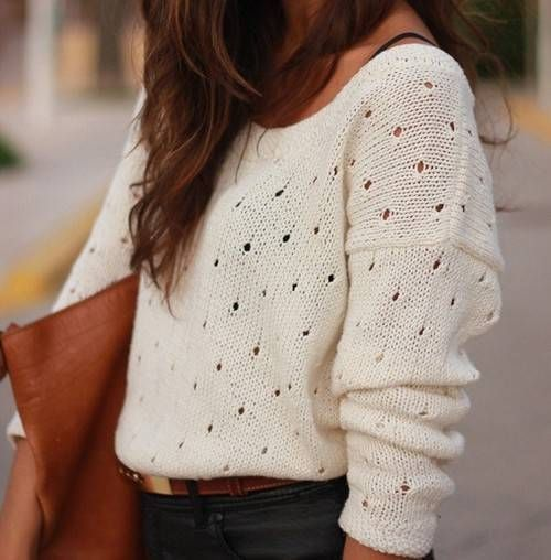tucked in white sweater