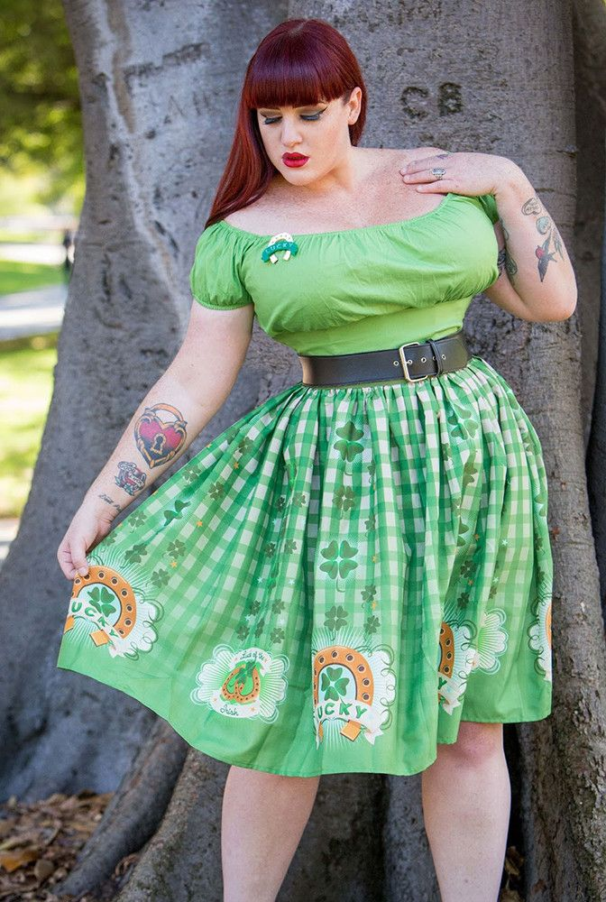 Lucky You St. Patrick's Day Gathered Novelty Print Skirt