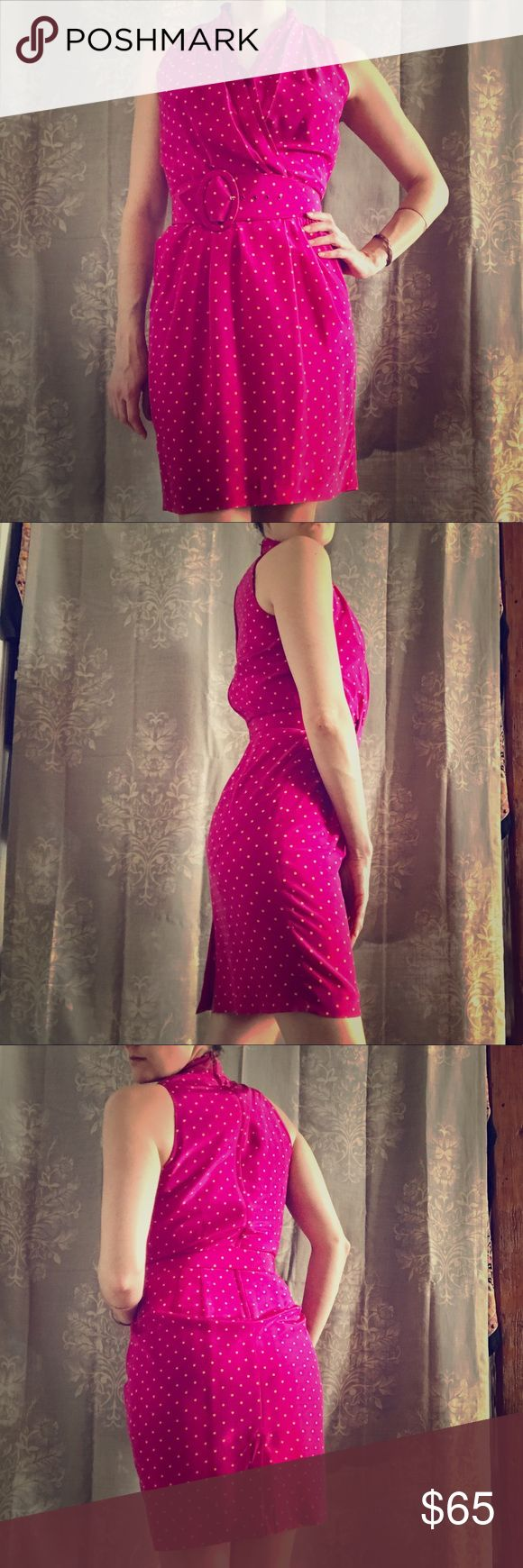 Evan Picone pink polka dot belted cocktail dress Vintage! 100% silk! Bright and sexy!                                  *used/great condition* size 6                                                  -hem on the bottom could use enforcing but not noticeable while wearing. Evan Picone Dresses Midi