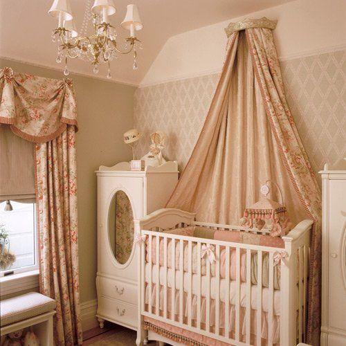 baby girl's roomNurseries Room, Baby Bed Crown, Baby Girl Nurserys, Baby Girl Rooms, Cousins Room, Elegant Pink Rose Girls Room, Baby Room, Baby Girls, Girls Nurseries