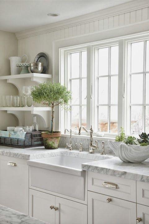 The Granite Gurus: Whiteout Wednesday: 5 White Kitchens with Farmhouse Sinks