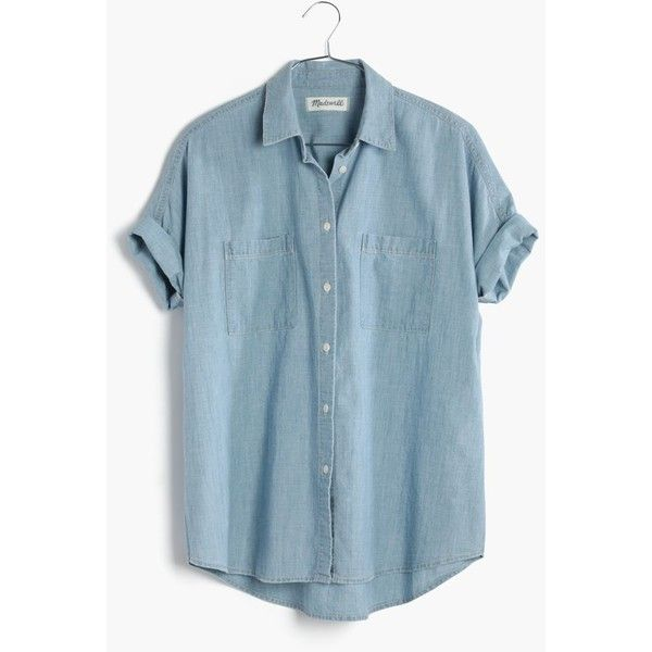 MADEWELL Chambray Courier Shirt in Buckley Wash (105 CAD) ❤ liked on Polyvore featuring tops, buckley wash, sexy shirts, short sleeve shirts, oversized button down shirt, blue top y oversized shirt