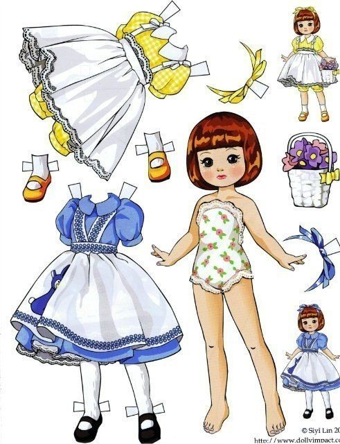 A small selection of cute paper dolls / Paper dolls with clothes for carving, sets / Babies. Dolls photo. Clothes for dolls