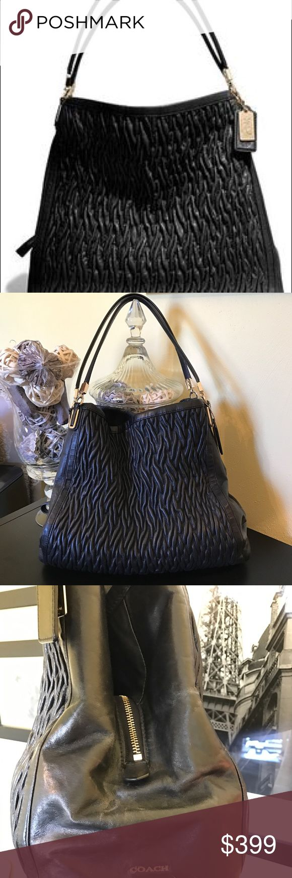Coach Madison Twister Black Leather Hobo In EUC this Coach bag is lined in dark purple satin, and has 3 separate compartments. The center compartment zips and the exterior 2 snap shut magnetically.  Beautiful soft black leather with gold hardware make this an excellent work bag. Comes from a Pet Free and Smoke Free home. Coach Bags Hobos