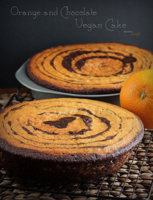Vegan Orange and Chocolate Zebra Cake. Very delicious, very moist. You'll never know it was vegan. from #dietersdownfall.com