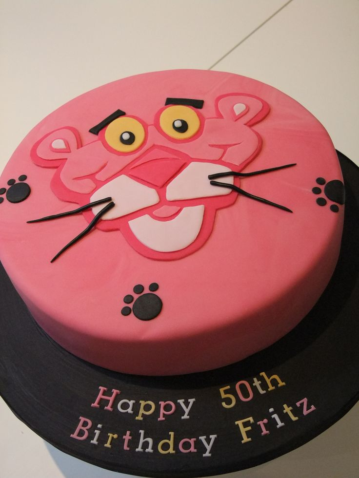 Pink Panther 50th Birthday Cake
