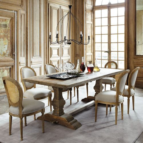 Natural wood dining table