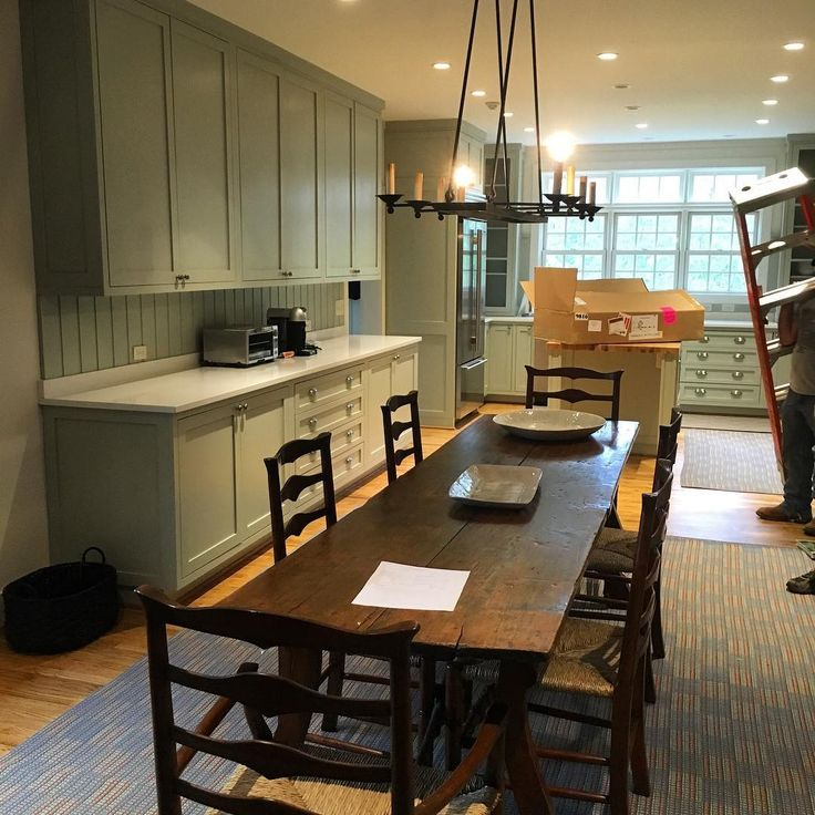 Farrow & Ball Mizzle paint on kitchen cabinets (Linville, NC home) - Happy Martin