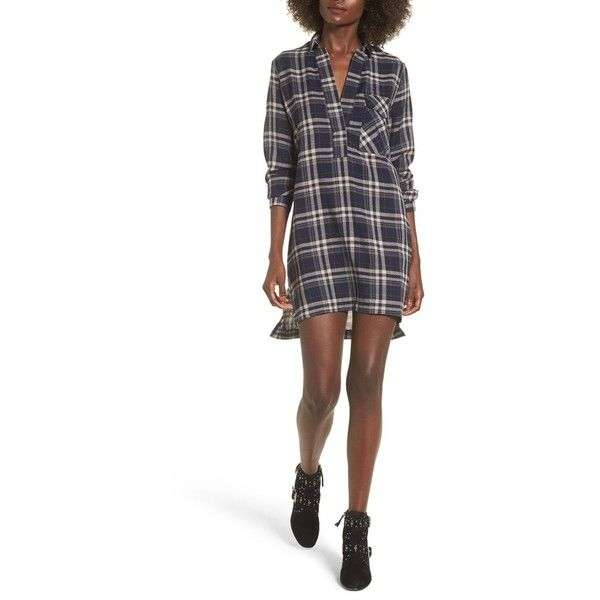 Women's Lira Clothing Victory Plaid Shirtdress (£22) ❤ liked on Polyvore featuring dresses, navy, slouch dress, navy blue white dress, white shirt dress, plaid dress and long plaid shirt dress