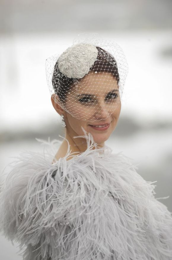 A Winter Wedding is a nice excuse to wear Feathers!
