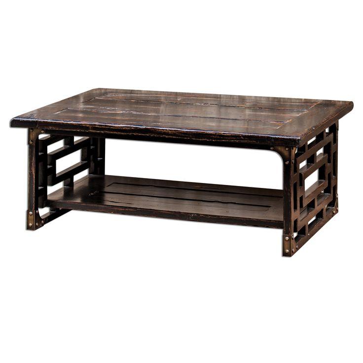 Кофейный стол Deron от американского производителя Uttermost. •Изготовлен из древесины махагона. •Выполнен в черной отделке с красными оттенками и легкими потертостями.             Метки: Журнальный стол.              Материал: Дерево.              Бренд: Uttermost.              Стили: Лофт.              Цвета: Темно-коричневый.