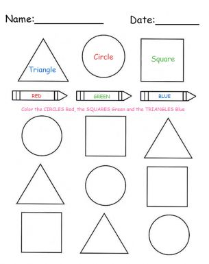 Printable color and shapes lesson worksheet