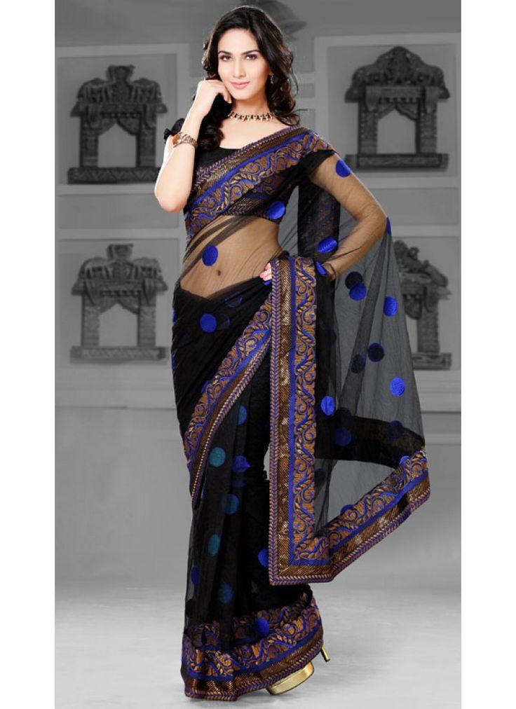 Sari Noir avec des motifs en bleu