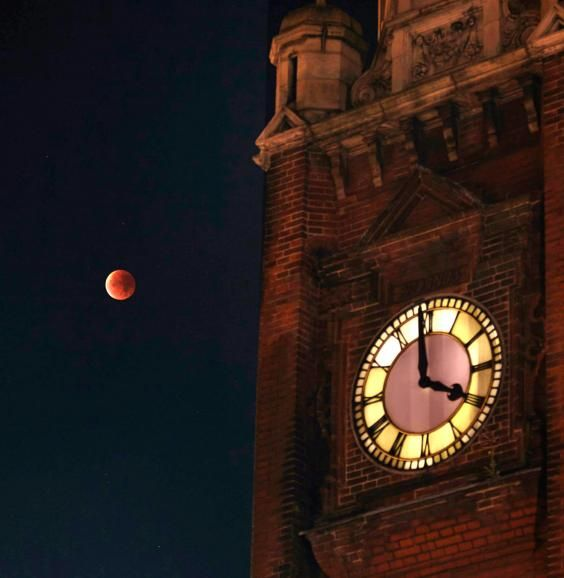 supermoon and clock tower Crouch End, Sept 28, 2015