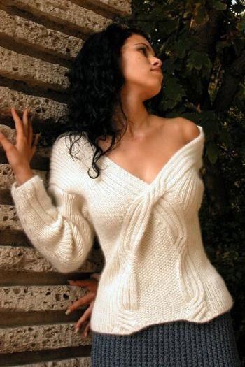 Mano suéter de las mujeres vestido de punto hecha a mano de la