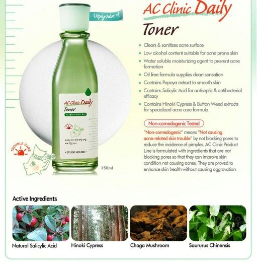 Etude House AC Clinic Daily Toner Etude House's AC Clinic line which targets problem skin. This toner in particular was designed as a double cleanser/toner for people with combo, oily or acne prone skin.
